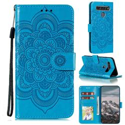 Intricate Embossing Datura Solar Leather Wallet Case for LG K61 - Blue