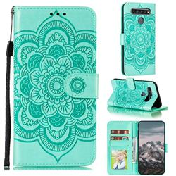 Intricate Embossing Datura Solar Leather Wallet Case for LG K61 - Green