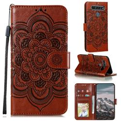 Intricate Embossing Datura Solar Leather Wallet Case for LG K61 - Brown