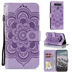 Intricate Embossing Datura Solar Leather Wallet Case for LG K61 - Purple