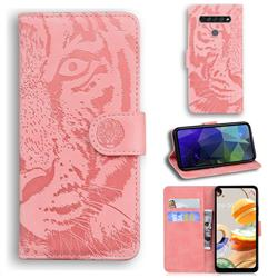 Intricate Embossing Tiger Face Leather Wallet Case for LG K61 - Pink