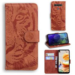 Intricate Embossing Tiger Face Leather Wallet Case for LG K61 - Brown
