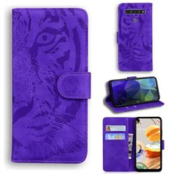 Intricate Embossing Tiger Face Leather Wallet Case for LG K61 - Purple