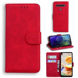 Retro Classic Skin Feel Leather Wallet Phone Case for LG K61 - Red