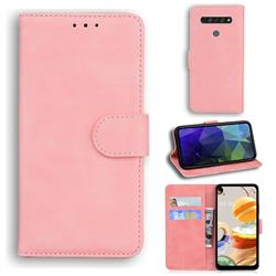 Retro Classic Skin Feel Leather Wallet Phone Case for LG K61 - Pink