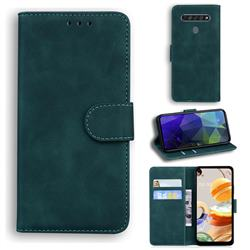 Retro Classic Skin Feel Leather Wallet Phone Case for LG K61 - Green