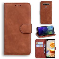 Retro Classic Skin Feel Leather Wallet Phone Case for LG K61 - Brown