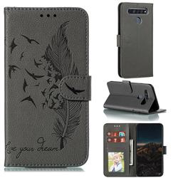 Intricate Embossing Lychee Feather Bird Leather Wallet Case for LG K61 - Gray