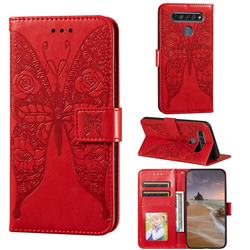 Intricate Embossing Rose Flower Butterfly Leather Wallet Case for LG K61 - Red