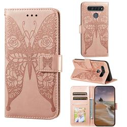 Intricate Embossing Rose Flower Butterfly Leather Wallet Case for LG K61 - Rose Gold