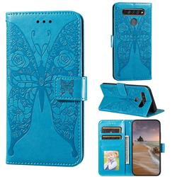 Intricate Embossing Rose Flower Butterfly Leather Wallet Case for LG K61 - Blue