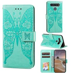 Intricate Embossing Rose Flower Butterfly Leather Wallet Case for LG K61 - Green