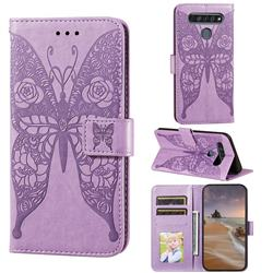 Intricate Embossing Rose Flower Butterfly Leather Wallet Case for LG K61 - Purple