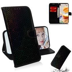 Laser Circle Shining Leather Wallet Phone Case for LG K61 - Black