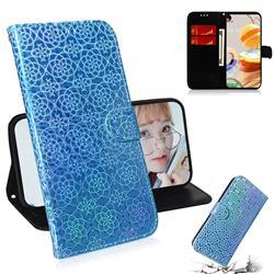 Laser Circle Shining Leather Wallet Phone Case for LG K61 - Blue