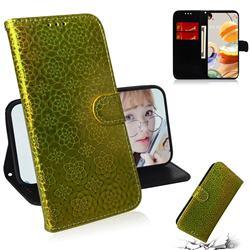 Laser Circle Shining Leather Wallet Phone Case for LG K61 - Golden