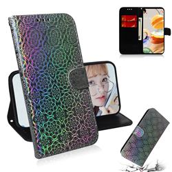 Laser Circle Shining Leather Wallet Phone Case for LG K61 - Silver