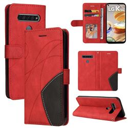 Luxury Two-color Stitching Leather Wallet Case Cover for LG K61 - Red