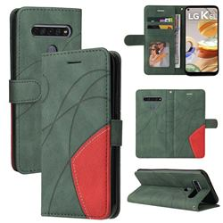 Luxury Two-color Stitching Leather Wallet Case Cover for LG K61 - Green