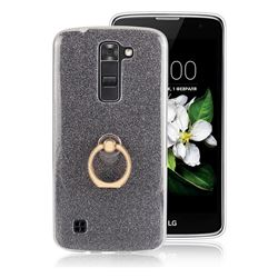 Luxury Soft TPU Glitter Back Ring Cover with 360 Rotate Finger Holder Buckle for LG K7 - Black