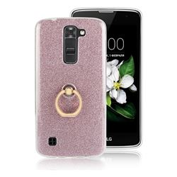 Luxury Soft TPU Glitter Back Ring Cover with 360 Rotate Finger Holder Buckle for LG K7 - Pink