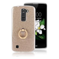 Luxury Soft TPU Glitter Back Ring Cover with 360 Rotate Finger Holder Buckle for LG K7 - Golden