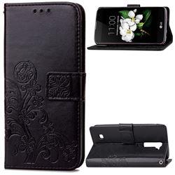 Embossing Imprint Four-Leaf Clover Leather Wallet Case for LG K7 - Black