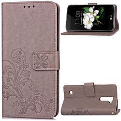 Embossing Imprint Four-Leaf Clover Leather Wallet Case for LG K7 - Gray