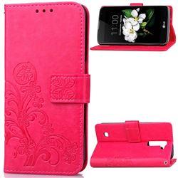 Embossing Imprint Four-Leaf Clover Leather Wallet Case for LG K7 - Rose