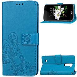 Embossing Imprint Four-Leaf Clover Leather Wallet Case for LG K7 - Blue