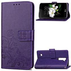 Embossing Imprint Four-Leaf Clover Leather Wallet Case for LG K7 - Purple