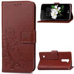 Embossing Imprint Four-Leaf Clover Leather Wallet Case for LG K7 - Brown