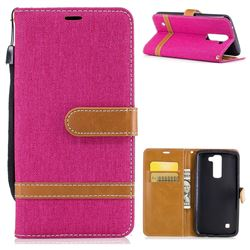 Jeans Cowboy Denim Leather Wallet Case for LG K7 - Rose