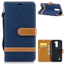 Jeans Cowboy Denim Leather Wallet Case for LG K7 - Dark Blue