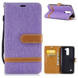 Jeans Cowboy Denim Leather Wallet Case for LG K7 - Purple