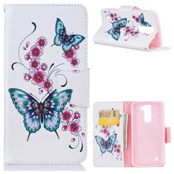 Peach Butterflies Leather Wallet Case for LG K7
