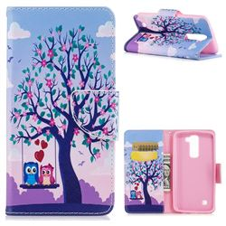 Tree and Owls Leather Wallet Case for LG K7