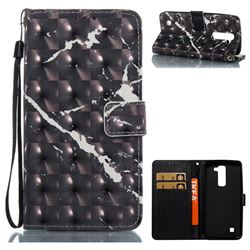 Black Marble 3D Painted Leather Wallet Case for LG K7