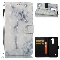 White Gray Marble 3D Painted Leather Wallet Case for LG K7