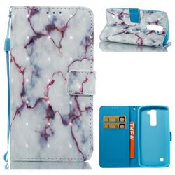 White Purple Marble 3D Painted Leather Wallet Case for LG K7