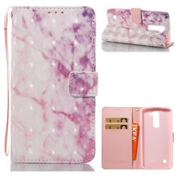 Pink Marble 3D Painted Leather Wallet Case for LG K7