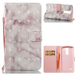 Beige Marble 3D Painted Leather Wallet Case for LG K7
