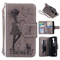 Embossing Cat Girl 9 Card Leather Wallet Case for LG K7 - Gray