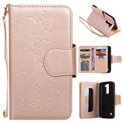 Embossing Cat Girl 9 Card Leather Wallet Case for LG K7 - Gold
