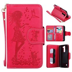 Embossing Cat Girl 9 Card Leather Wallet Case for LG K7 - Red