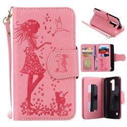 Embossing Cat Girl 9 Card Leather Wallet Case for LG K7 - Pink