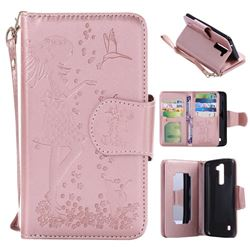 Embossing Cat Girl 9 Card Leather Wallet Case for LG K7 - Rose Gold