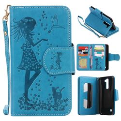 Embossing Cat Girl 9 Card Leather Wallet Case for LG K7 - Blue