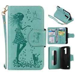 Embossing Cat Girl 9 Card Leather Wallet Case for LG K7 - Green