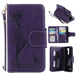Embossing Cat Girl 9 Card Leather Wallet Case for LG K7 - Purple
